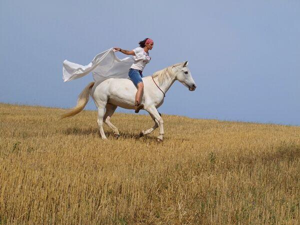 CAV CEWE Fotowettbewerb 2013 Leserfotos Claudia Pflüger - Lesertext: auf dem ersten Bild ist meine 20 jährige Pony-Araberdame Lady Anjuli beim flitzen übers Feld.  das zweite Bild zeigt unseren Jungspund Seth, der ein arabisches Halbblut ist, und meinem M
