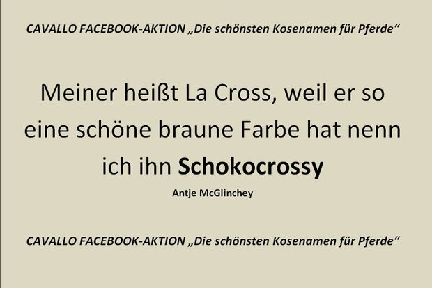 CAV Kosenamen Leserfotos 2014 - Schokocrossy