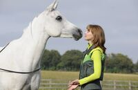Weißes Pferd und Frau auf einer Wiese